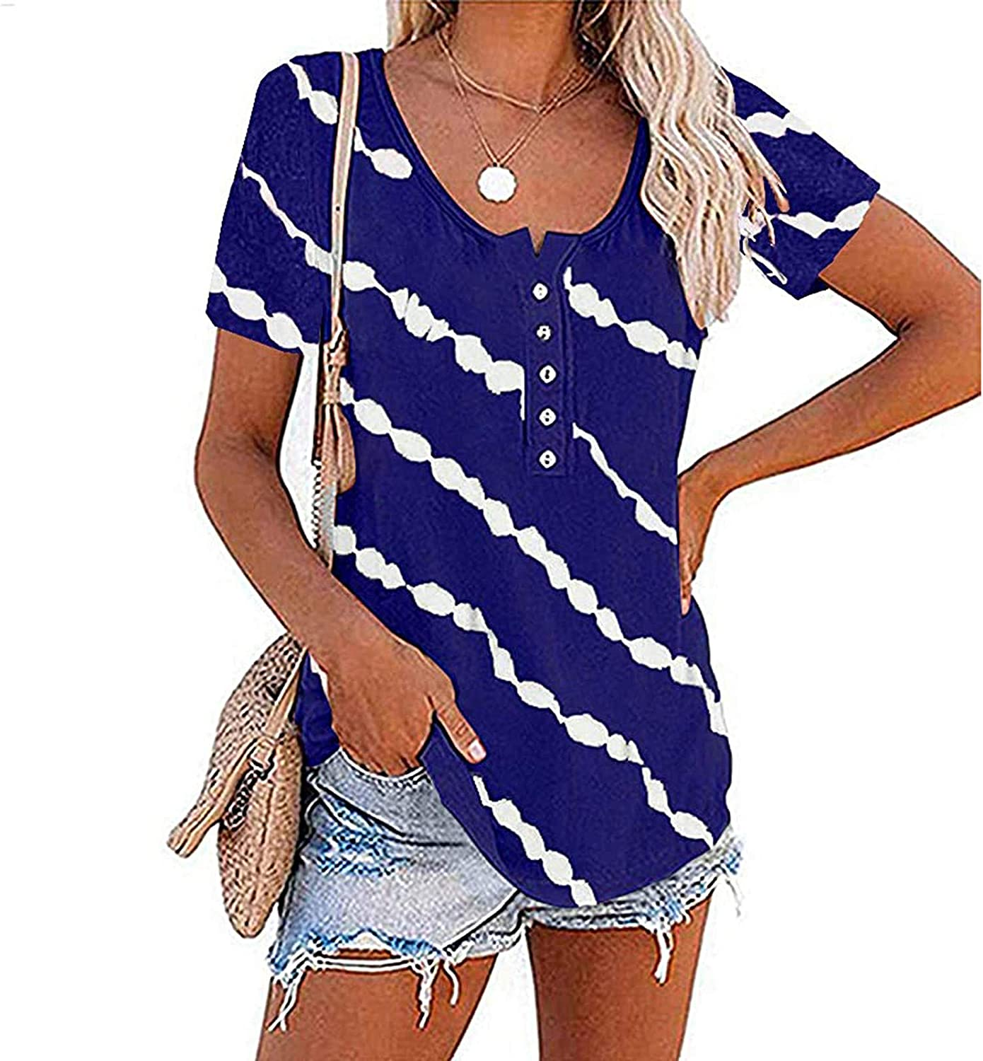 Aukbays T-Shirts for Womens Short Sleeve Crew Neck Stripe Printed Tops Loose Fit Plus Size Casual Blouses Tees Shirts