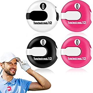 Frienda Golf Score Counter Mini Stroke Counter with One Touch Reset Handheld Score Counter Up to 12 Shots Score, 4 Pieces