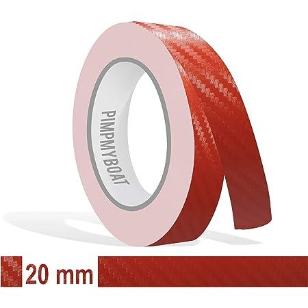 Siviwonder Zierstreifen Rot Carbon In 15 Mm Breite Und 10 M Länge Folie Für Auto Aufkleber Boot Jetski Modellbau Klebeband Dekorstreifen Auto