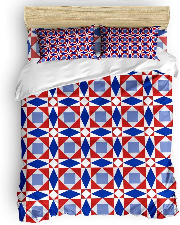 Meet Elegant 1998 Soft 4 Pieces NEW Duvet Geometry Cover Creative Patter Set