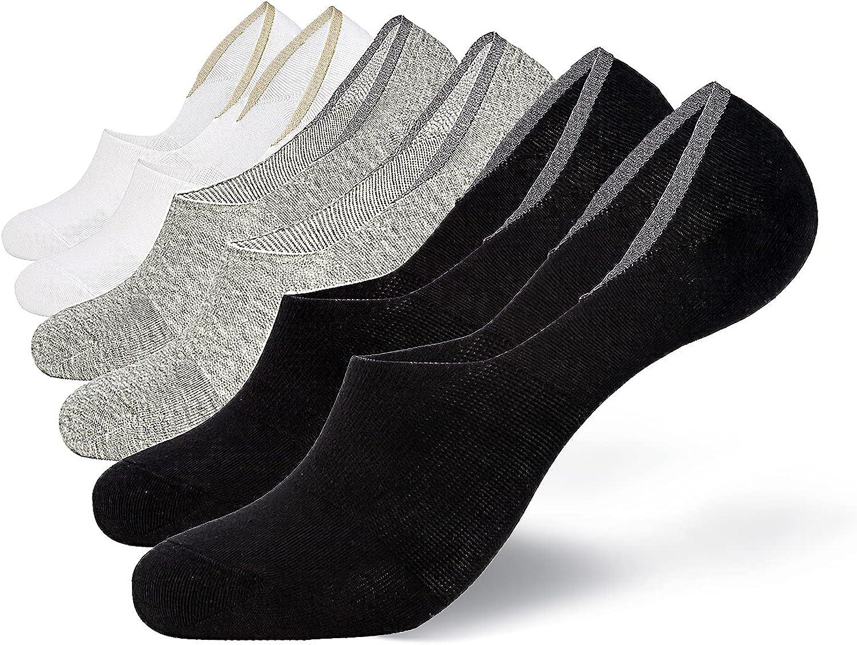 Women No Show Socks Men Casual Socks Low Cut Anti-Slid Cotton Socks 6 Pairs Pack Siz 6-12