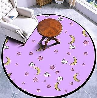 Round Area Rug Kids Carpet Playmat Non-Slip Throw Runner Rug Sailor Moon Inspired Bunny of The Moon Bedspread Blanket Print Indoor Floor Carpet Door Mat for Bedroom Living Room Home Decor