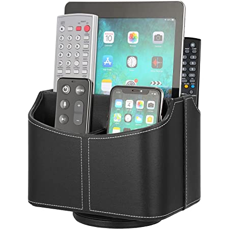 Remote Control Holder 5 Compartments 360 Degrees Rotatable Desktop Supply Organizer PU Leather Storage Caddy Box for TV Guide, Mail,Electronics,Phone,Eyeglasses,Cosmetic Pens,Black