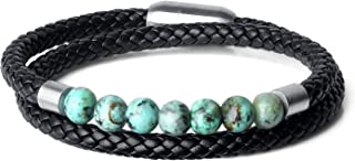 Double Layer Stone Beaded Leather Bracelet