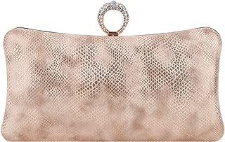 Fawziya Bling Ring Clutch Cocktail Purses For Women Snakeskin Evening Bag