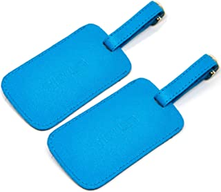 Logical Leather Luggage Tag Genuine Leather Travel ID Tags with Adjustable Leather Strap, Address Card and Privacy Cover, Cyan, Set of 2