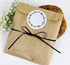 Cookie Favor Treat Bag Set with Write-in Sticker and Satin Ribbon. Set of 25 Ready-to-Use Eco-Friendly Rustic Woodland Paper Party Gift Bags,Stickers & Ribbon. Kraft Brown, Black, White