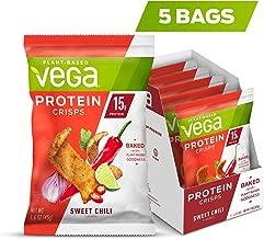 VEGA Protein Crisps Sweet Chili (5Count, 1.6 oz Bag), Vegan, Gluten Free Snack, Plant Based Protein, Non Dairy, Non GMO
