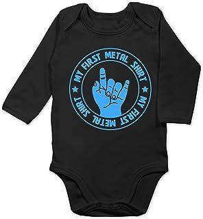 Shirtracer Sprüche Baby - My First Metal Shirt blau - Baby Body Langarm