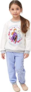 Happy Threads Disney Frozen Toddler Girls 2 PC Prepare for Adventure Crew Neck Long Sleeve Shirt and Jogger Set Blue/Ivory