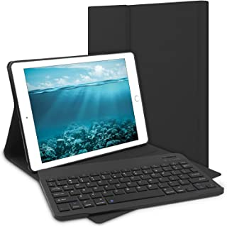 iPad Keyboard Case for iPad 2018 (6th Gen), iPad 2017 (5th Gen), iPad Air 2 Air 1, iPad Pro 9.7, PU Leather, Detachable Keyboard, Wireless Buletooth Connect, iPad Case with Keyboard, Black