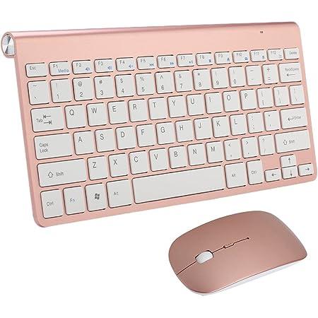 Combinación de Teclado y Ratón Inalámbricos,KINGCOO Ultra-thin Mini 2.4G Wireless Packs de teclado y Ratón Desktop Ajustable 800/1200/1600 DPI Silent ...
