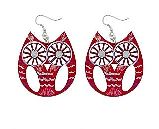 Orecchini dipinti a mano – CIVETTA - Orecchini pendenti da donna, Gioielli in legno dipinti a mano, Gancio in argento, Mad...
