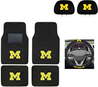 University of Michigan Automotive Gift Set.Wow! Logo On Front and Rear Auto Floor Liner. You get 2 Head Rest Cover 4 Floor Mat and 1 Wheel Cover in this gift set. Perfect to Michigan Wolverines Fan