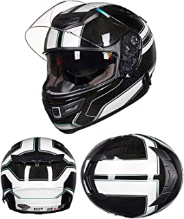 AA100 Off-Road Motorcycle Carbon Fiber Helmet/Suitable for Adult Men's Scooter ATV Motorcycle Competition Safety Helmet/DOT Certification,XXL