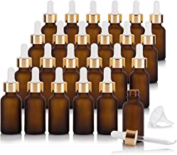 1 oz / 30 ml Frosted Amber Glass Boston Round Bottle with Luxury Gold Metal and Glass Dropper (24 pack) + Funnel for Essential oils, Aromatherapy, E-liquid, Food grade, BPA free