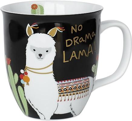 Happy Life 45544 Kaffee-Tasse mit Lama Tier-Motiv, mit Spruch No Drama Lama, Porzellan, 40 cl, Geschenk-Tasse preisvergleich bei geschirr-verleih.eu