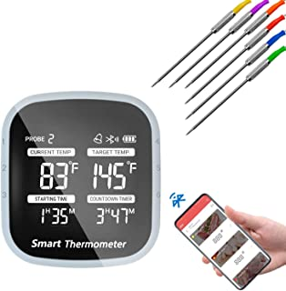 Termometro intelligente con 6 sonde in acciaio inox Bluetooth, termometro digitale per arrosto, per cucina, forno, zuccher...