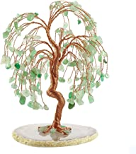 Jovivi Natural Healing Crystals Green Aventurine Tree Tumbled Gemstone Stones Money Tree, Geode Agate Slices Base Feng Shui Ornaments Home Decoration for Wealth and Luck 5.5