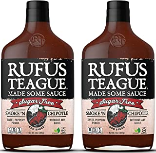 Rufus Teague: Sugar-Free BBQ Sauce - Premium BBQ Sauce- Natural Ingredients - Award Winning Flavors - Thick & Rich Sauce - Made with Stevia- Keto, Gluten-Free, Kosher, & Non-GMO - 2pk