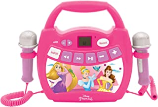Lexibook- Disney Princesses, Mon Premier Lecteur Musical karaoké avec micros, sans Fil, Fonctions Enregistrement et Change...