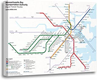 "TORASS Canvas Wall Art Print Map Boston Rapid Transit Routes No Bus Subway Artwork for Home Decor 12"" x 16"""