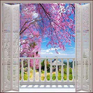 TIANXINBZ Custom Photo Wallpaper 3D Stereo Large Murals False windows romantic cherry spring field sofa bed bedroom flash,...