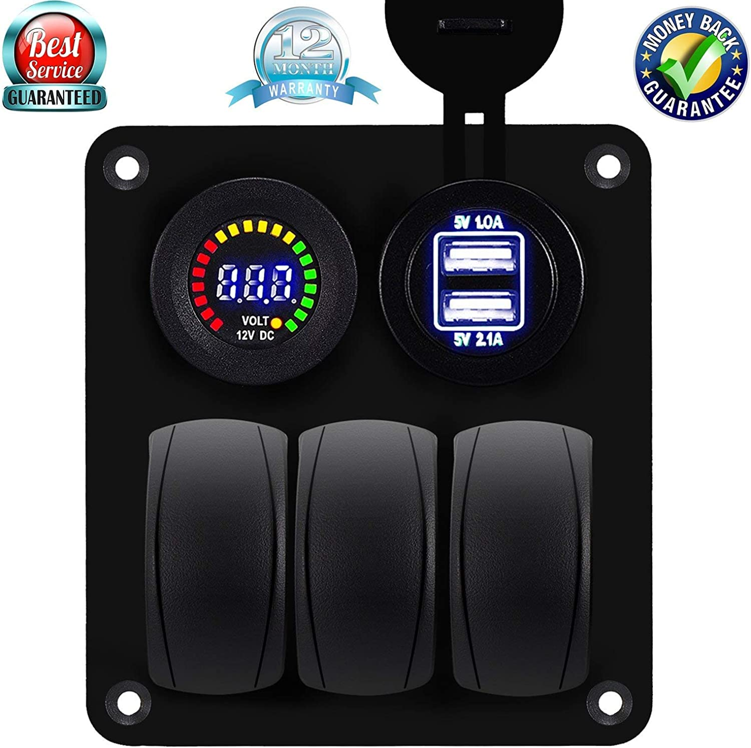 car marine rocker switch panel with fuse dual usb + power socket  digital voltmeter overload predection for rv car boat boat  nyjcvl6975-sporting goods