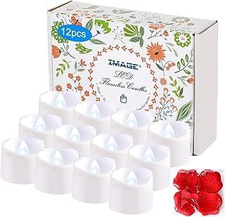 IMAGE Timer LED, 12 elektrycznych podgrzewaczy typu tealight z 100 sztukami dekoracyjnych, sztuczne róże, 6 i 18 godzin wy...