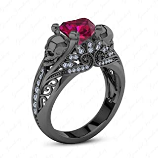 Gemstar Jewellery Fashion Gothic Skull Ring with Heart Red Ruby 14k Black Gold Plated 925 Silver