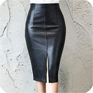 Women Midi Sexy High Waist Bodycon Split Skirt Office Pencil Skirt Knee Length