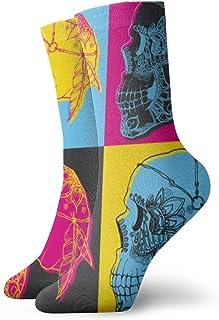 Skull Ornament Pop Art Mens Athletic Crew Socks for Men Cushion Casual Sports Workout Sock