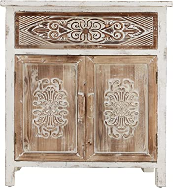 Atroy Accent Entryway Cabinet, White Carved Vintage Accent Storage Chest with 2 Doors and 1 Drawer, Accent Wood Cabinet for L