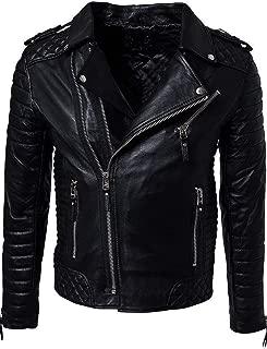 brandMe Men's Genuine Leather Pure Lambskin Biker Jacket MM457