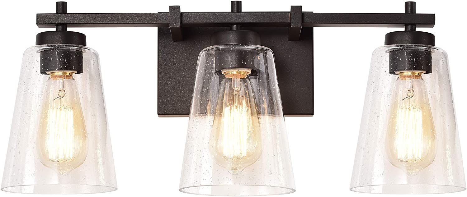 Industrial 3 Light Bathroom Super beauty product restock quality top Vanity Fixture with free shipping Clear Seed