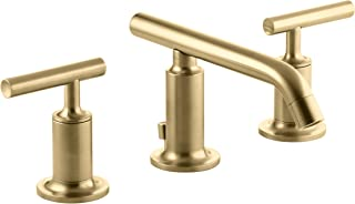 KOHLER K-14410-4-BGD Purist Widespread Bathroom Sink Faucet with Low Lever Handles and Low Spout, Vibrant Moderne Brushed Gold