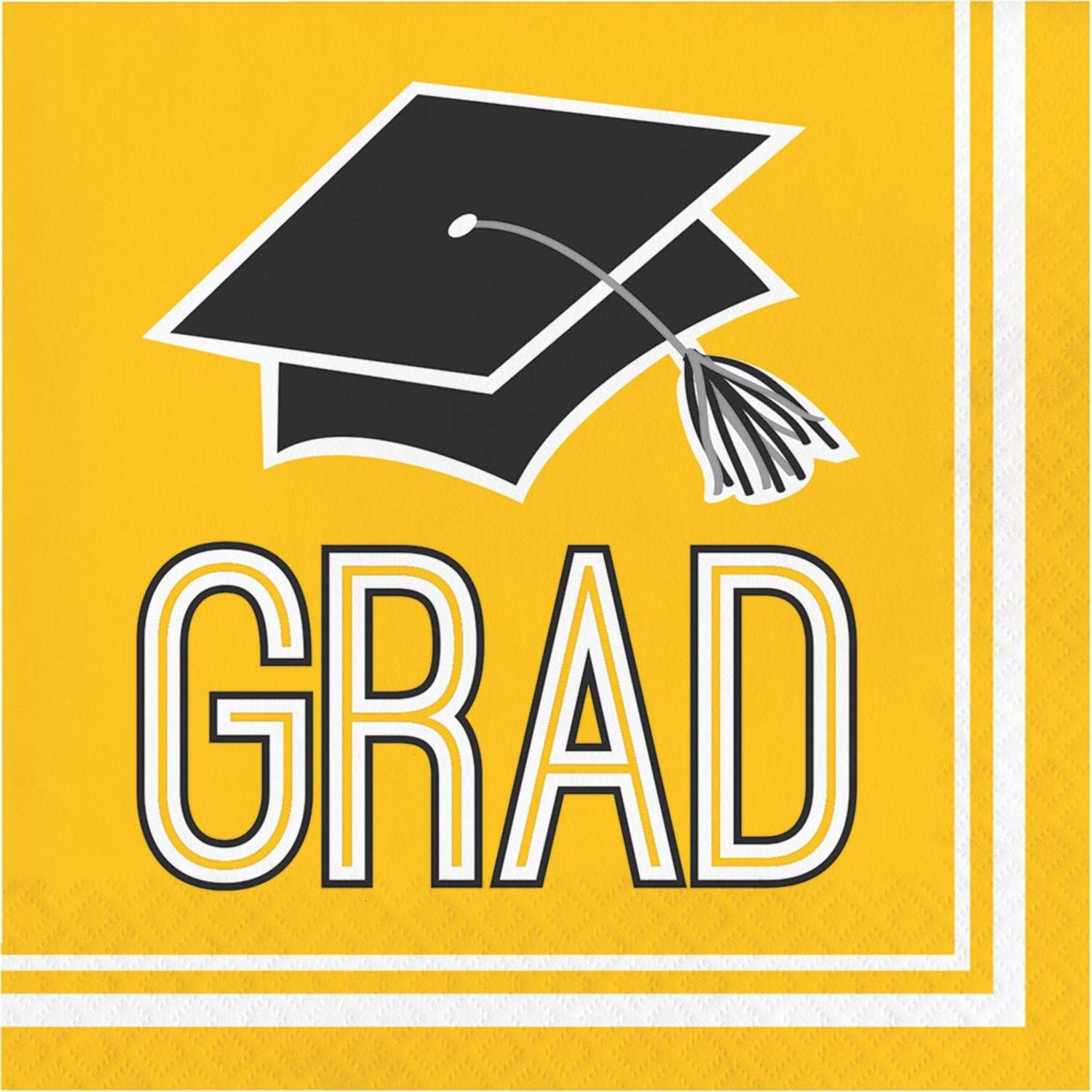"""Club Pack of 360 Yellow and Black 2Ply """"Grad"""" Lunch Disposable Party Napkins 5"""""""