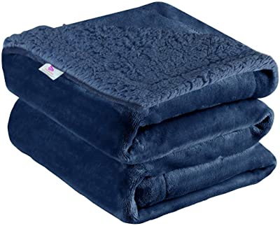 """uxcell Sherpa Fleece Blanket Fuzzy Soft Microfiber Plush Reversible Flannel Throw Blanket Blanket for Sofa Couch or Bed, Navy Blue-Navy Blue Throw-50"""" x 60"""""""