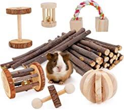 JanYoo Guinea Pig Toys Chinchilla Hamster Roller Rat Chews Toys Bunny Rabbits Bird Exercise Molar Wooden for Teeth(Pack of 7)