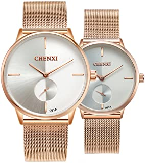 Swiss Brand Couple Watch Men Women Stainless Steel Rose Gold Mesh Strap Waterproof Watches Gift of 2