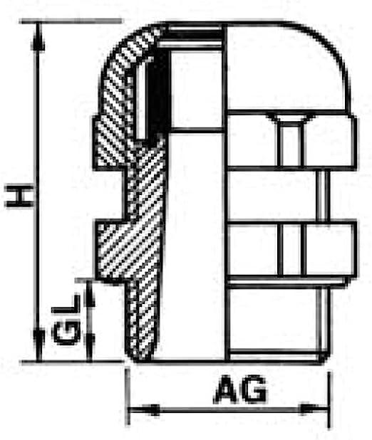 5 St/ück zur Kabeldurchf/ührung Kabelverschraubung Kabelverbinder Metall Gr/ö/ße PG7 mit Gegenmutter Messing