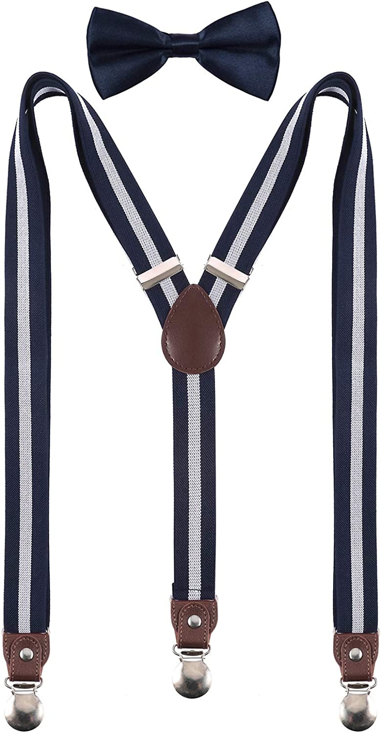Shark Tooth Men's Suspenders and Bow Tie with Clips Leather-1 Set