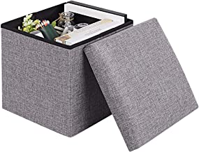 JiatuA Folding Storage Ottoman, Toy Box Cube Foot Rest Stool/Seat Folding Seat Bench & Footrest Linen Fabric Ottomans Bench Coffee Table Puppy Step for Bedroom, Living Room, Entrance, Gray