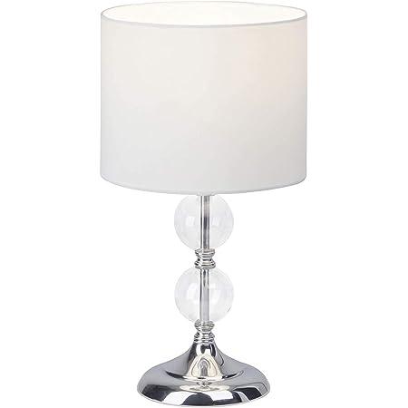 Brilliant 94861/05 Rom Lampe à Poser, Métal/Verre/Textile, E27, 60 W, Chrome/Blanc, 1 Unité (Lot de 1)