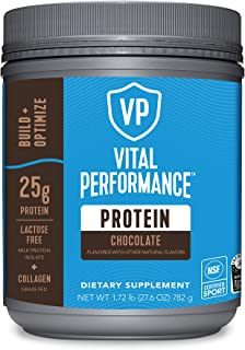 Vital Performance Protein Powder, 25g Lactose-Free Milk Protein Isolate Powder, NSF for Sport Certified, 10g Grass-Fed Col...