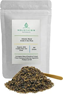 Organic Atlantic Blond/Red Moss - Carrageen Flakes (Chondrus Crispus) by Holistic Bin - 100 Grams - Product of USA