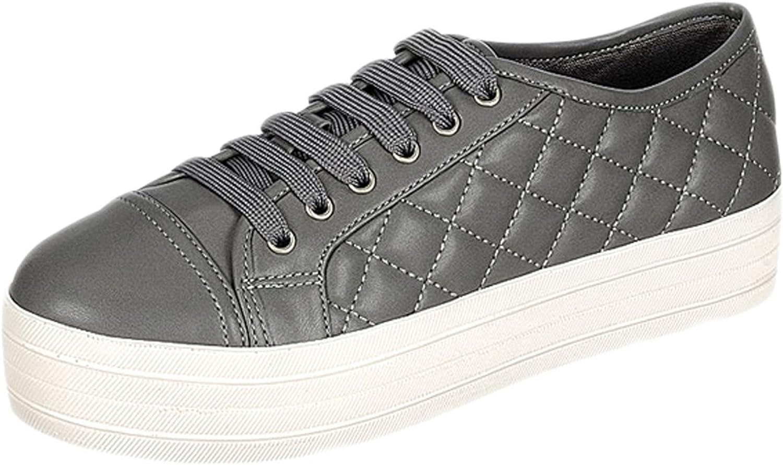 Breckelles DI87 Women Leatherette Quilted Cap Toe Flatform Sneaker