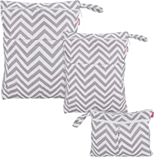 Damero 3pcs Travel Wet and Dry Bag Organizer with Handle for Cloth Diaper, Pumping Parts, Swimsuit and More, Easy to Grab and Go, Gray Chevron