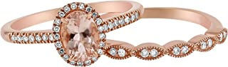 14k Gold Oval Cut Morganite with Diamond Halo Vintage Wedding Ring Set (1/4 cttw, H-I, I1)