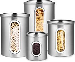 Deppon 4-Piece Canister Set Stainless Steel with Airtight Lids and Plexi-Glass Window Large for Flour Sugar Tea Coffee Nuts Food Storage (Silver)